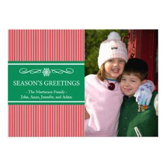 Xmas Stripes Christmas Card (Red / Green)