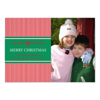 Xmas Stripes Christmas Card (Red / Green) Invites