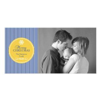 Xmas Stripes Christmas Photo Card (Blue / Gold)