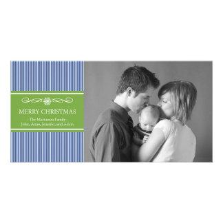 Xmas Stripes Christmas Photo Card (Blue / Green)