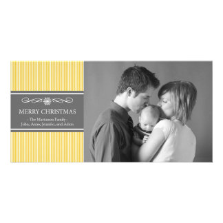 Xmas Stripes Christmas Photo Card (Gold / Gray)