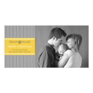 Xmas Stripes Christmas Photo Card (Gray / Gold)