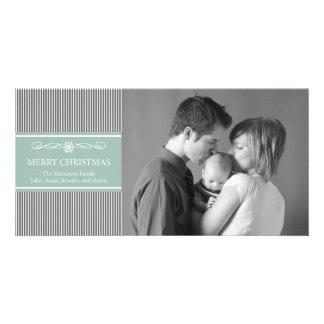 Xmas Stripes Christmas Photo Card (Gray / Mint)