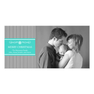 Xmas Stripes Christmas Photo Card (Gray / Teal)