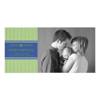 Xmas Stripes Christmas Photo Card (Green / Blue)