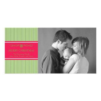 Xmas Stripes Christmas Photo Card (Green / Red)