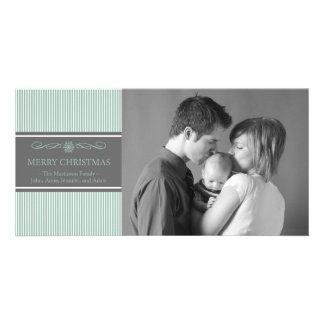 Xmas Stripes Christmas Photo Card (Mint / Gray)