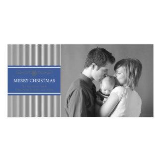 Xmas Stripes Christmas Photo Card (Navy Blue/Gray)