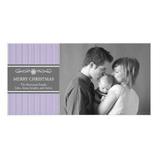 Xmas Stripes Christmas Photo Card (Purple / Gray)