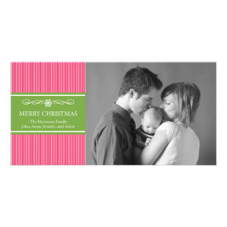 Xmas Stripes Christmas Photo Card (Red / Green)