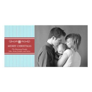 Xmas Stripes Christmas Photo Card (Teal/Burgandy)