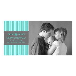 Xmas Stripes Christmas Photo Card (Teal / Gray)