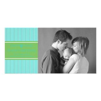Xmas Stripes Christmas Photo Card (Teal / Green)