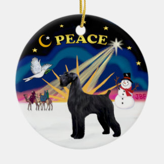 Xmas Sunrise - Giant Black Schnauzer Round Ceramic Decoration
