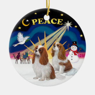 Xmas Sunrise - Two Blenheim Cavaliers Round Ceramic Decoration