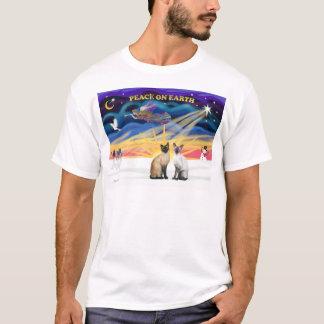 Xmas Sunrise - Two Siamese cats (Seal + Choc) T-Shirt