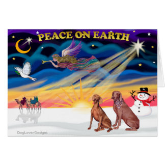 Xmas Sunrise - Two Weimaraners Greeting Card