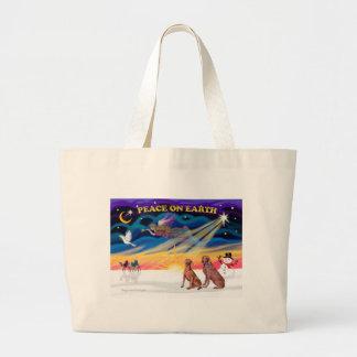 Xmas Sunrise - Two Weimaraners Large Tote Bag