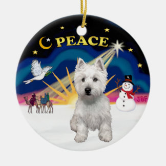 Xmas Sunrise - West Highland Terrier Christmas Ornament
