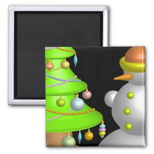 Xmas tree & snowman square magnet
