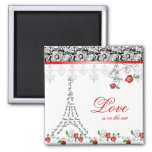 Xmas Valentine's French Paris Love Magnet Red Rose