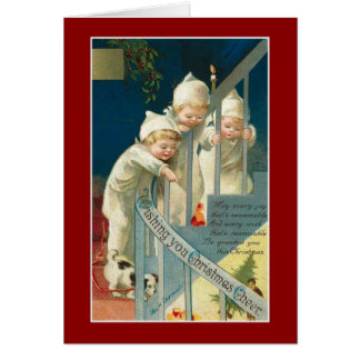 Xmas Vintage Card Merry Christmas Children Cards