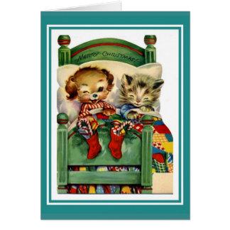 Xmas Vintage Card Merry Christmas Kitten Dog