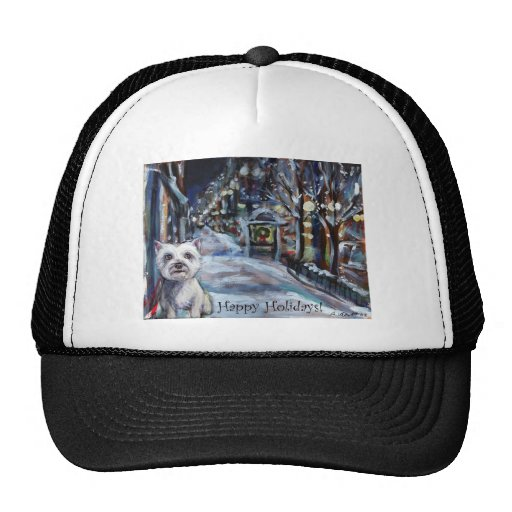 xmas westie happy holiday greeting mesh hats