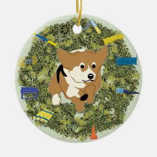 Xmas Wreath Agility Corgi Christmas Ornament