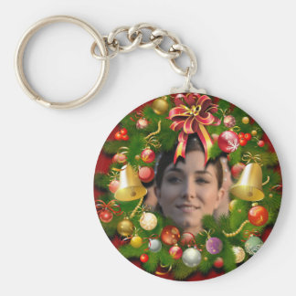 Xmas Wreath Customized With Your Own Photo Basic Round Button Key Ring