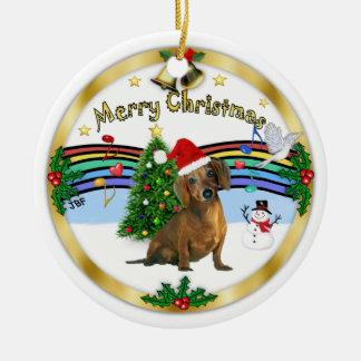 Xmas ZMusic 1 - MC - Brown Dachshund (hat) Christmas Ornament