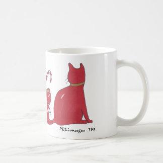 XmasRedRibbonCats, Xmas Ribbon Cats Basic White Mug
