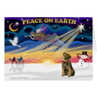 XmasSunrise-BorderTerrier1 Greeting Card