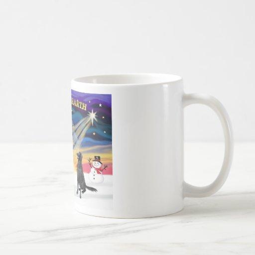 XmasSunrise-Flat Coated Retreiver1 Coffee Mugs