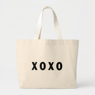 XO Hugs and Kisses Black Large Tote Bag