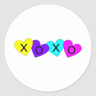 XO Hugs and Kisses Hearts Round Stickers