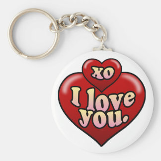 XO I love you with hearts. Basic Round Button Key Ring
