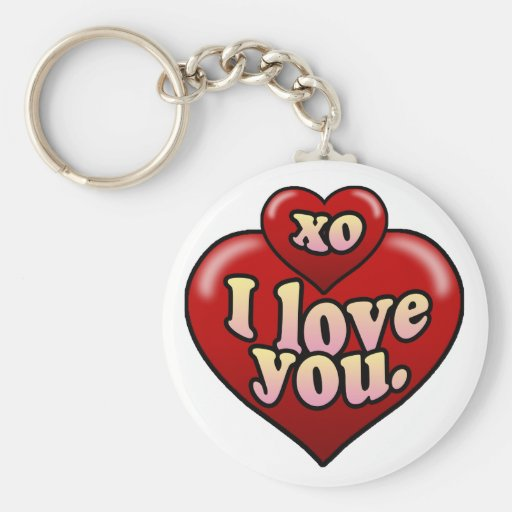 XO I love you with hearts. Key Chains