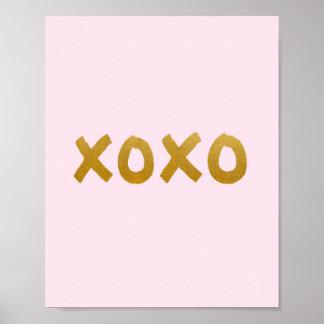 xoxo - Art print - Pink - Gold - Decor