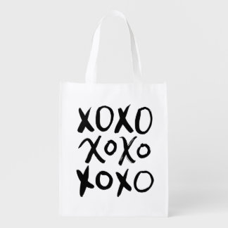 XOXO   Black Brush Script Reusable Grocery Bag