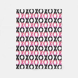 XOXO | Black & Pink Pattern Fleece Blanket