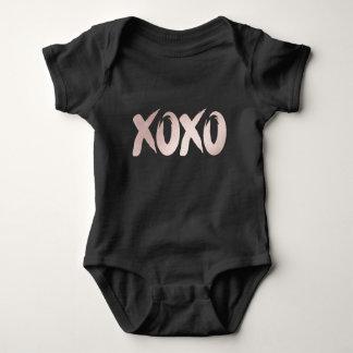 XOXO Blush Pink Black   Modern Brushstrokes Script Baby Bodysuit