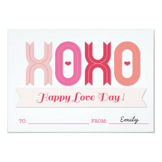 XOXO Classroom School Kids Valentine's Day Cards Personalized Invite