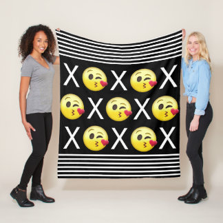 """XOXO"" Emojis Fleece Blanket"