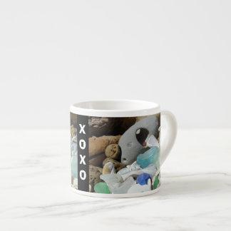 XOXO Espresso mugs Seaglass Fossils Shells Coffee