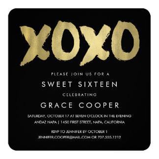 XOXO Faux Gold & Black Sweet Sixteen 13 Cm X 13 Cm Square Invitation Card