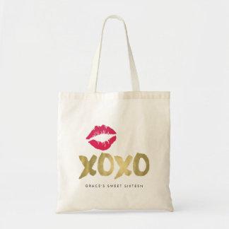 XOXO Faux Gold & Pink Lips Budget Tote Bag