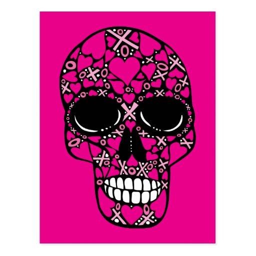 XOXO Forever - Skull Postcard on Pink