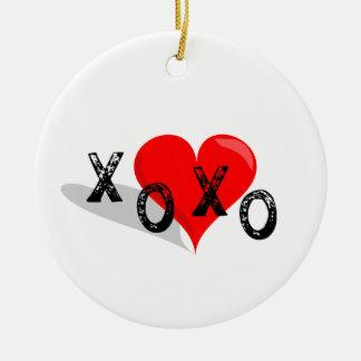 XOXO Heart Hugs and Kisses Christmas Ornament