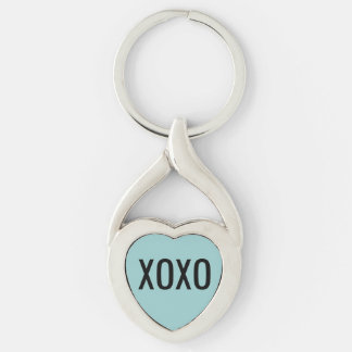 XOXO  Heart Keychain Silver-Colored Twisted Heart Key Ring